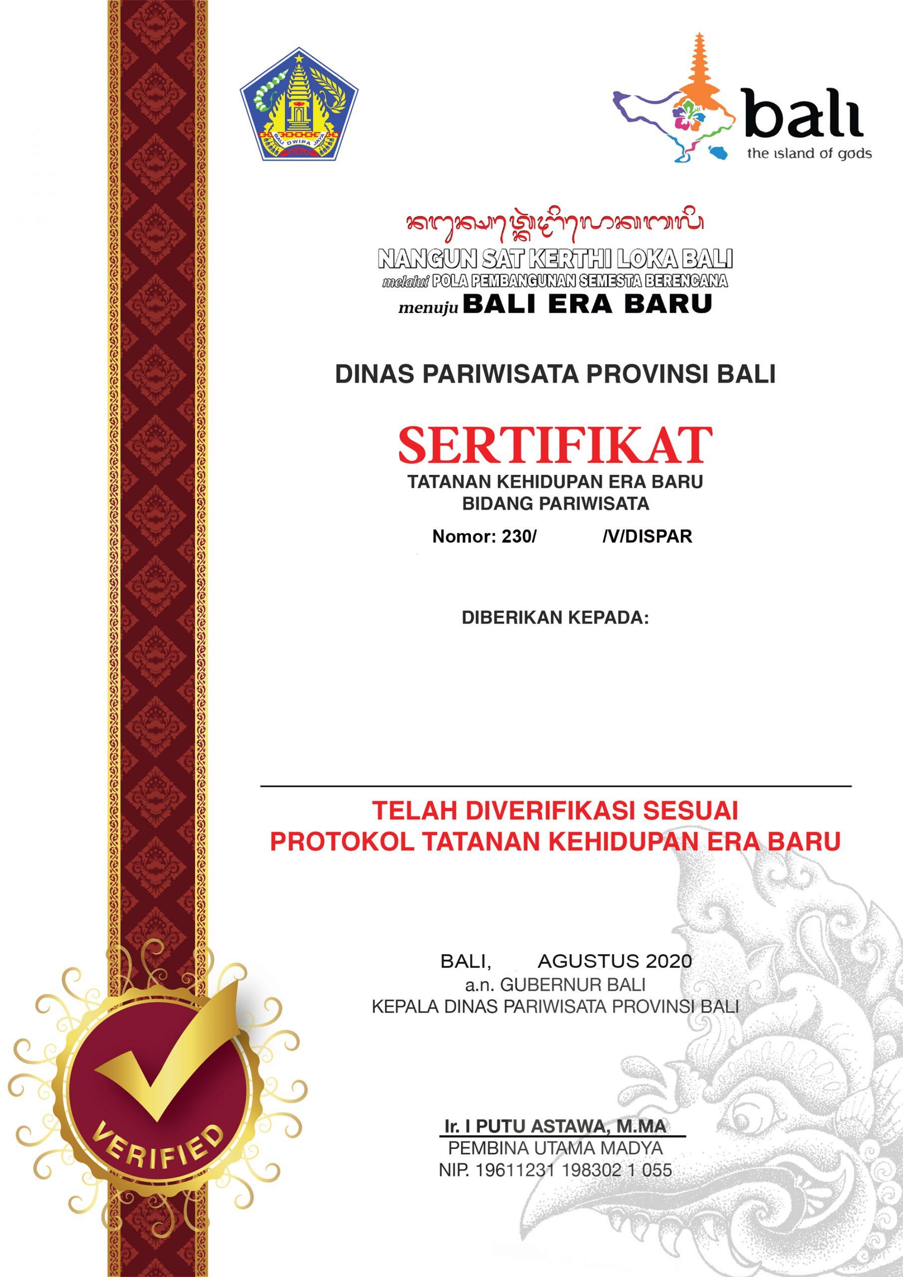 Draft Sertifikat - Bali Government Tourism Office